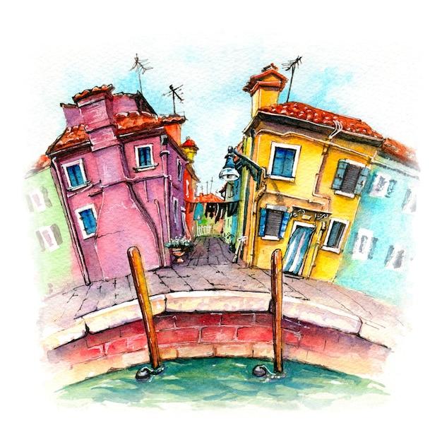 Esboço em aquarela da ilha de burano, veneza, itália. Foto Premium