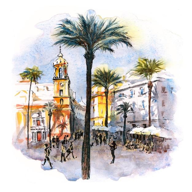 Esboço em aquarela da praça da catedral ou plaza de la catedral pela manhã em cádiz, andaluzia, espanha. Foto Premium