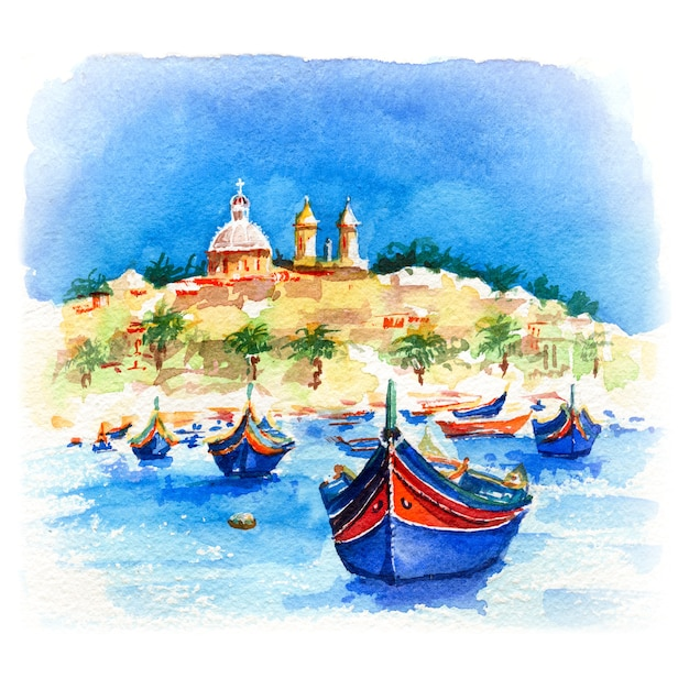 Esboço em aquarela de barcos tradicionais coloridos de olhos luzzu e igreja na vila de pescadores do porto do mediterrâneo em marsaxlokk, malta Foto Premium