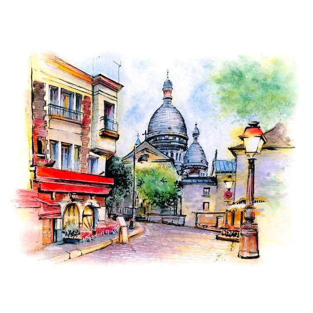 Esboço em aquarela de montmartre, em paris, frança. Foto Premium