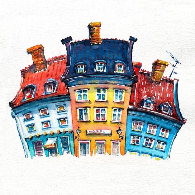 Esboço em aquarela de nyhavn em copenhagen, enmark. Foto Premium