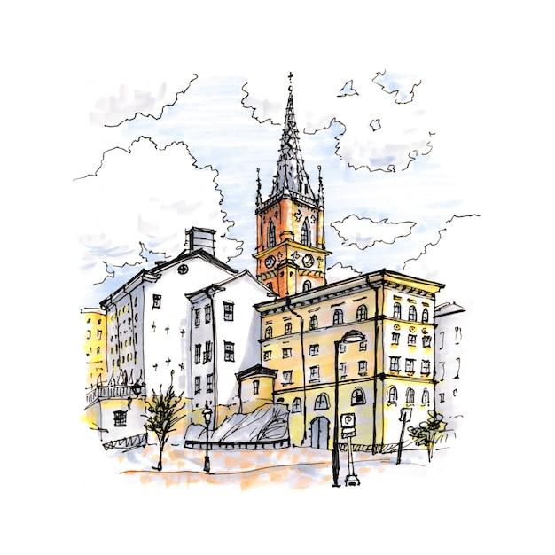 Esboço em aquarela de riddarholmen, gamla stan, na cidade velha de estocolmo, capital da suécia Foto Premium