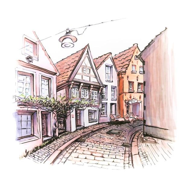 Esboço em aquarela de schnoor na bremen medieval Foto Premium