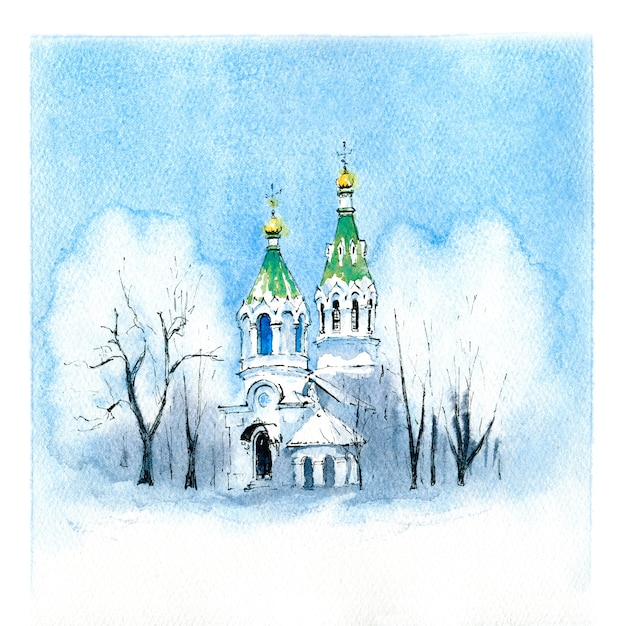 Esboço em aquarela de típica igreja ortodoxa no dia nevado de inverno. Foto Premium