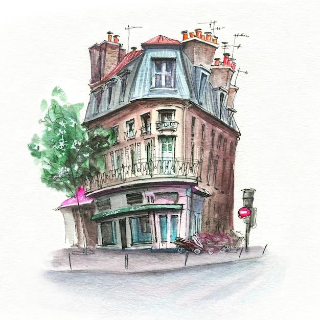 Esboço em aquarela de típica rua parisiense, paris, frança. Foto Premium