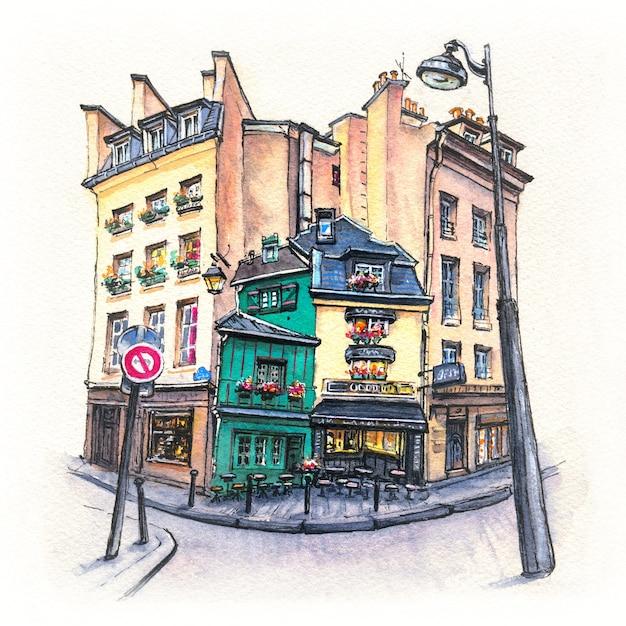Esboço em aquarela de uma típica rua parisain, paris, frança Foto Premium