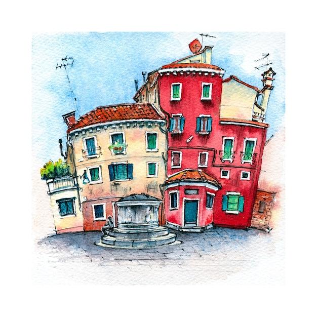 Esboço em aquarela de veneza, itália. Foto Premium