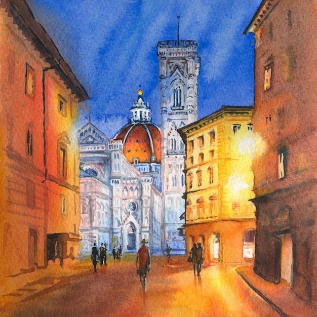 Esboço em aquarela do famoso duomo santa maria del fiore, do batistério e do campanário de giotto na piazza del duomo em florença, toscana, itália Foto Premium