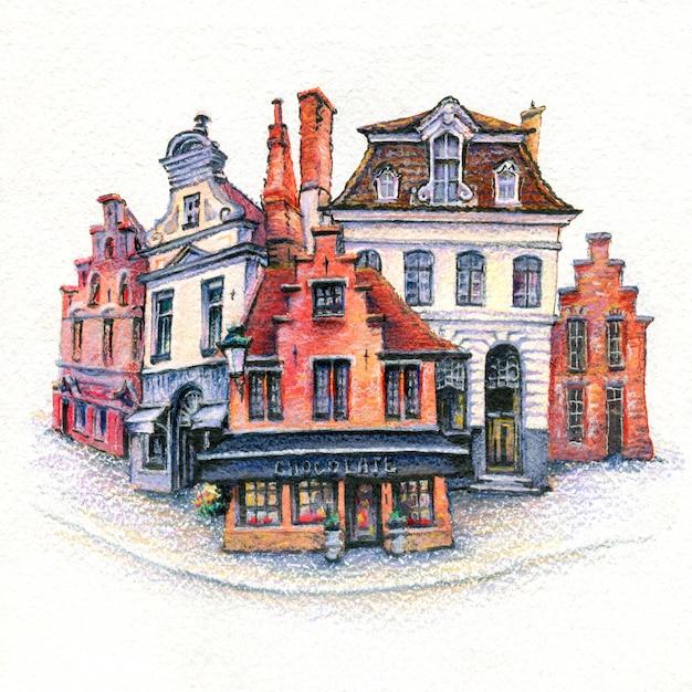 Esboço urbano em aquarela de casa de tijolos com porta, byke e janelas bruges, bélgica Foto Premium