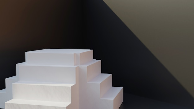 Escada branca 3d com parede preta Foto Premium