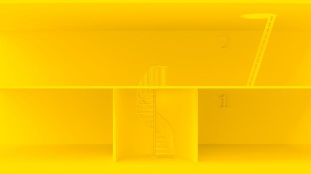 Escadas amarelas com características diferentes. Foto Premium