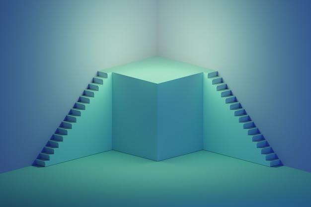 Escadas com pódio no azul Foto Premium