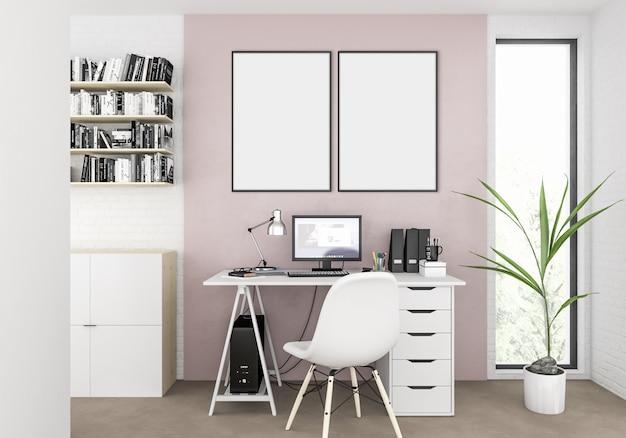 Escandinavo interior com moldura em branco vazia ou quadro de obras de arte Foto Premium