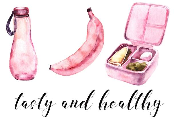 Escola meninas rosa suprimentos aquarela conjunto. refeição escolar Foto Premium