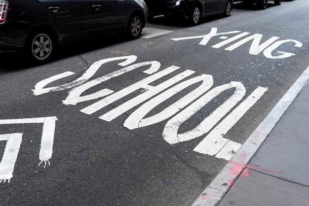 Escola, sinal estrada, vista superior Foto gratuita