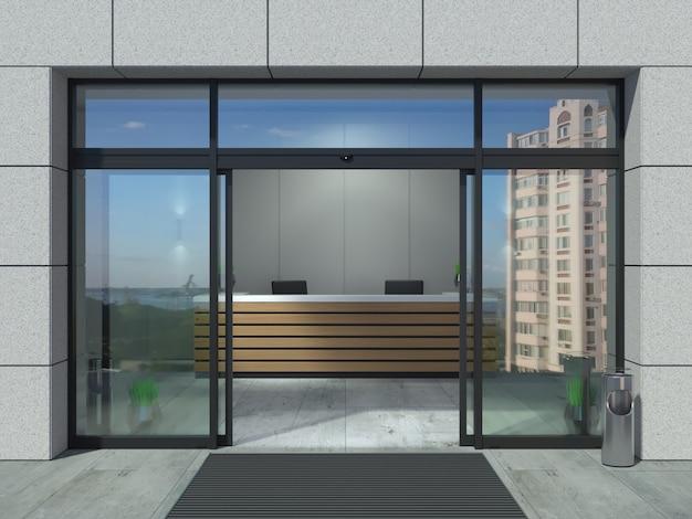 Escritório de portas deslizantes automáticas Foto Premium