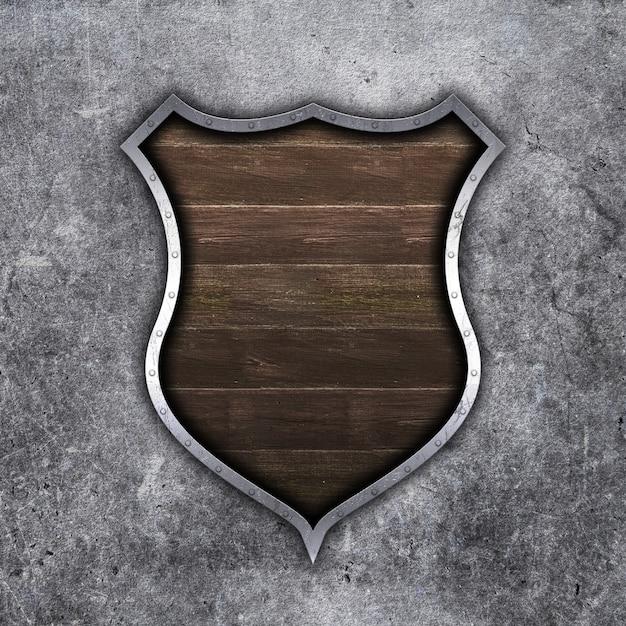 Escudo de metal e madeira velho 3d em fundo grunge concreto Foto gratuita