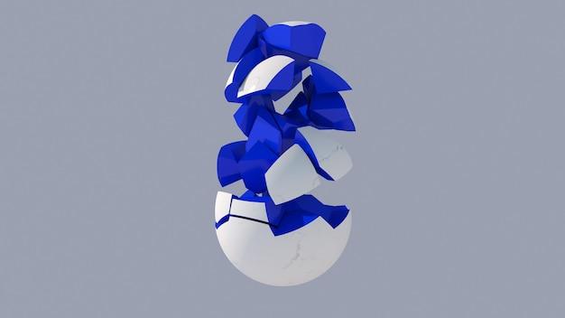 Esfera azul quebrada com superfície de mármore. fundo azul. ilustração abstrata, renderização 3d. Foto Premium