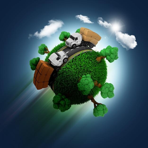 Esfera com árvores e caminhões Foto gratuita