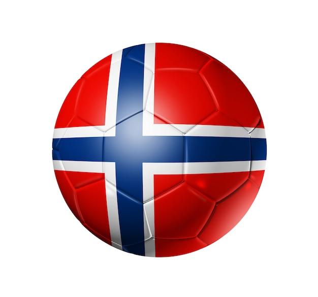 Esfera de futebol 3d com a bandeira da equipe de noruega. Foto Premium