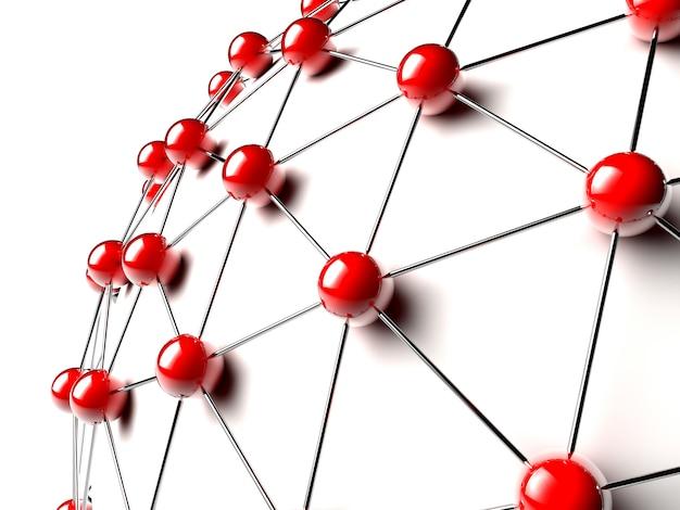 Esferas ligadas em vermelho Foto Premium