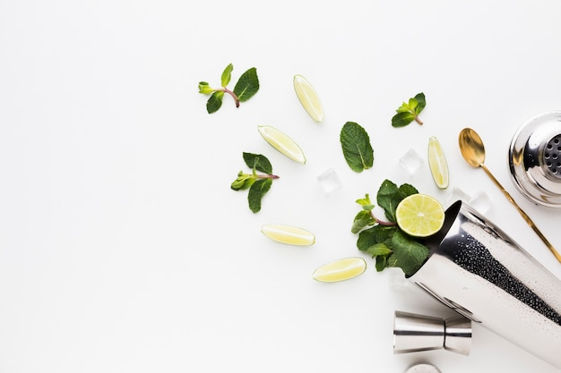 Esfolar lay de coquetéis essenciais com fatias de limão e hortelã Foto gratuita