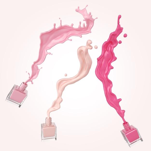 Esmalte colorido ou respingo de tinta laca colorido sobre fundo branco Foto Premium
