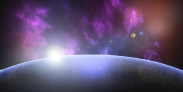 Espaço com fundo do planeta Foto gratuita