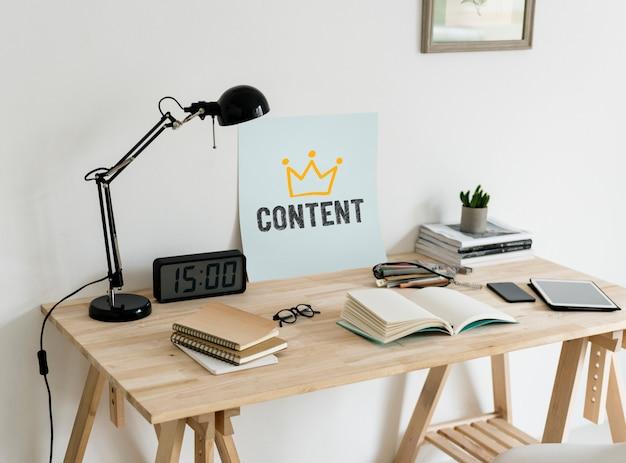 Espaço de trabalho de estilo minimalista com um conteúdo de texto Foto Premium