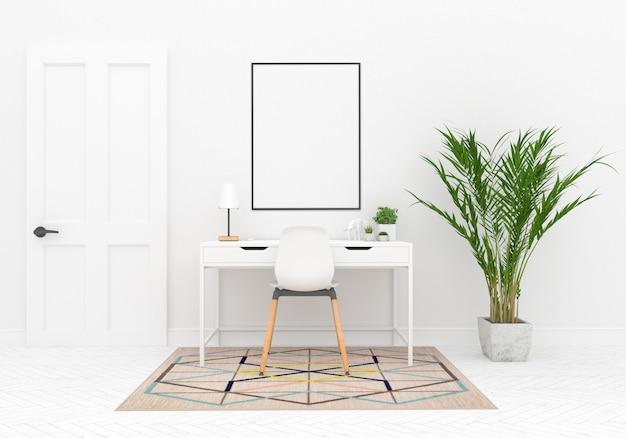 Espaço de trabalho escandinavo com moldura vertical Foto Premium