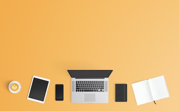 Espaço de trabalho moderno. vista do topo. estilo leigo plano. Foto Premium