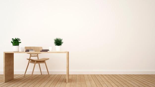 Espaço de trabalho ou café design minimalista - renderização em 3d Foto Premium