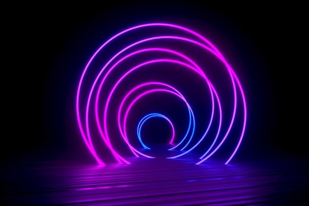 Espiral de néon deitado na superfície preta brilhante Foto Premium