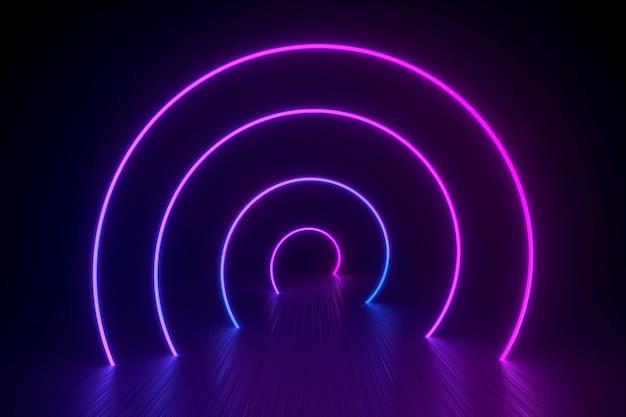 Espiral de néon sobre uma superfície preta brilhante Foto Premium