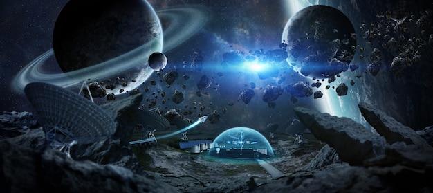 Estação observatório no espaço de renderização em 3d Foto Premium