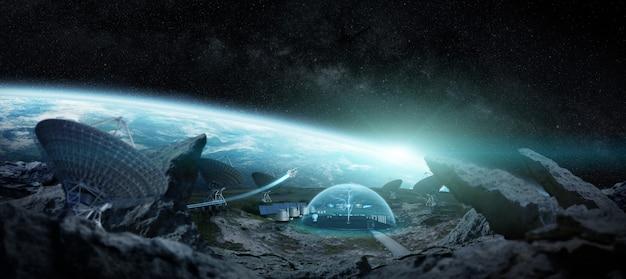 Estação observatório no espaço elementos de renderização 3d da imagem fornecida pela nasa Foto Premium