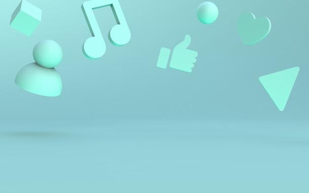 Estágio de ícones de mídia social Foto Premium