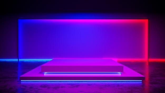 Estágio de retângulo com blackground de luz de neon e piso de concreto, ultravioleta, render 3d Foto Premium