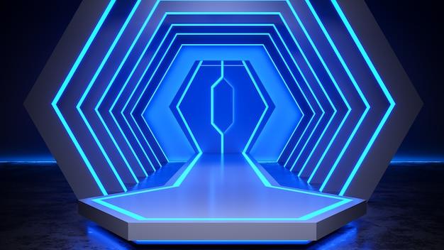 Estágio do hexágono com blackground de luz de néon e piso de concreto, luz azul, render 3d Foto Premium