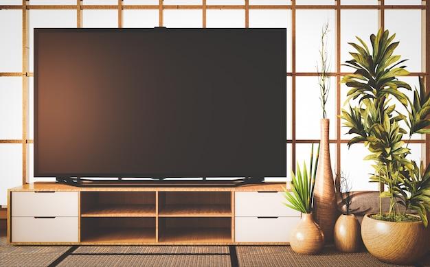 Estilo antigo, tv inteligente no armário de madeira no quarto estilo japonês no tapete de tatame de chão. renderização 3d Foto Premium