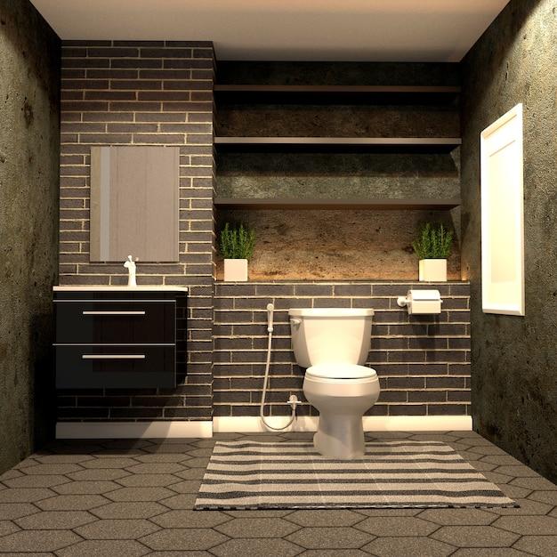 Estilo de banheiro loft com tijolo preto no chão de ladrilho hexagonal. renderização 3d Foto Premium