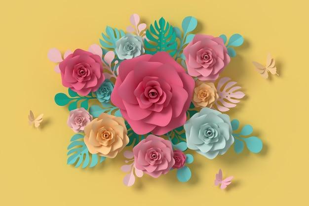 Estilo de papel da flor, rosa colorida, ofício de papel floral, papel da borboleta. Foto Premium