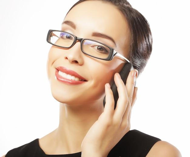 Estilo de vida, negócios e conceito de pessoas: mulher de negócios sorridente Foto Premium