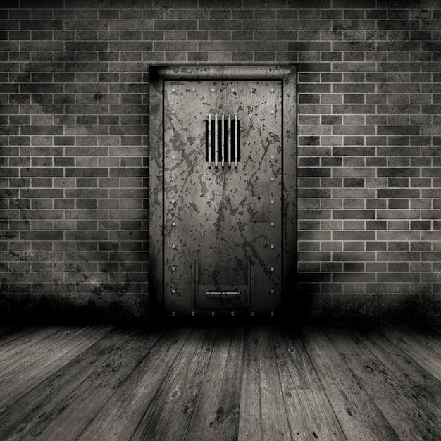 Estilo grunge interior com uma porta da prisão Foto gratuita