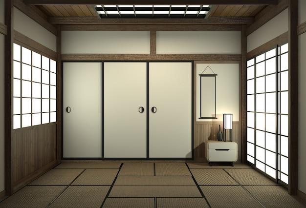 Estilo japonês vazio da sala com estilo de japão da porta. Foto Premium