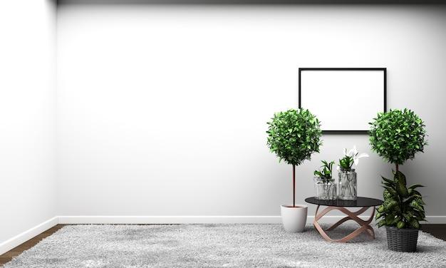 Estilo tropical moderno da sala com composição - projeto mínimo. renderização 3d Foto Premium
