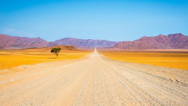 Estrada de cascalho, atravessando o deserto Foto Premium