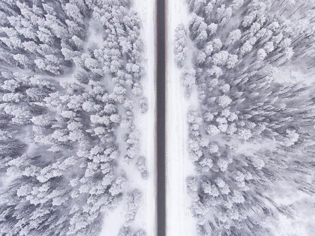 Estrada na floresta de inverno nevado vista aérea Foto Premium