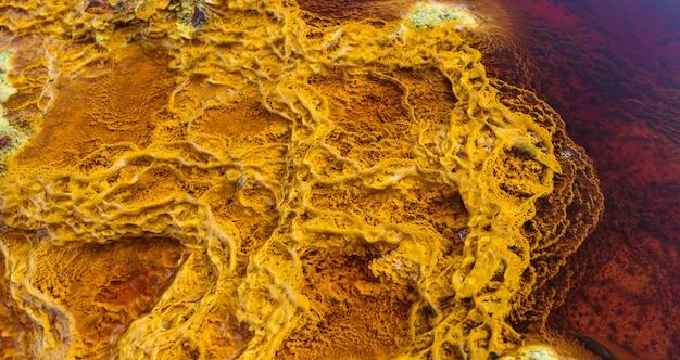 Estromatólitos amarelos iluminados pelo sol e rodeados de água vermelha por minerais Foto Premium