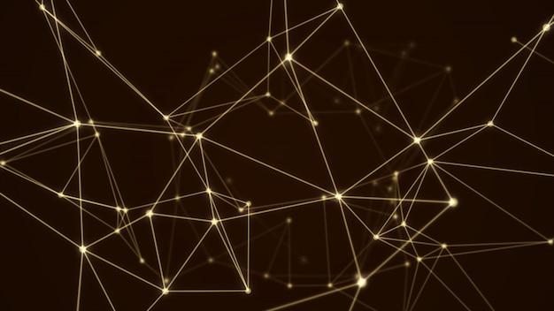 Estrutura abstrata molécula futurista cor de ouro fundo preto Foto Premium